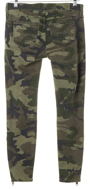 ELIZABETH AND JAMES Green Camo Cooper Ankle Zip Skinny Jeans