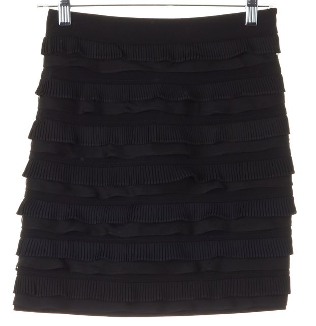 ELIZABETH AND JAMES Black Tiered Above-Knee Pencil Skirt