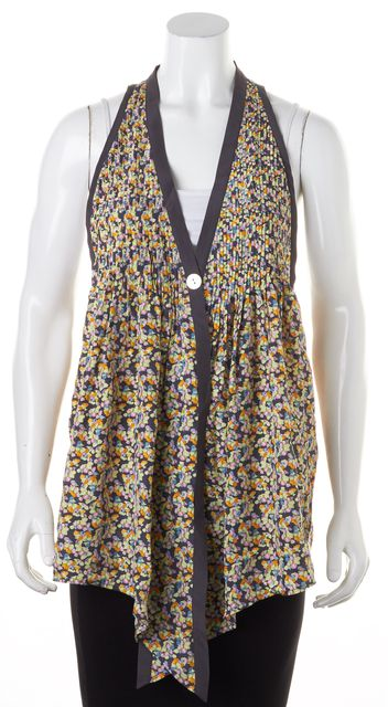 ELIZABETH AND JAMES Yellow Gray Floral Printed Sleeveless One-Button Blouse