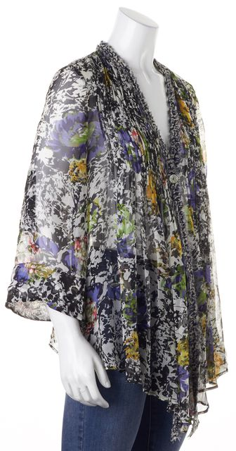 ELIZABETH AND JAMES White Black Blue Floral Silk Sheer Blouse