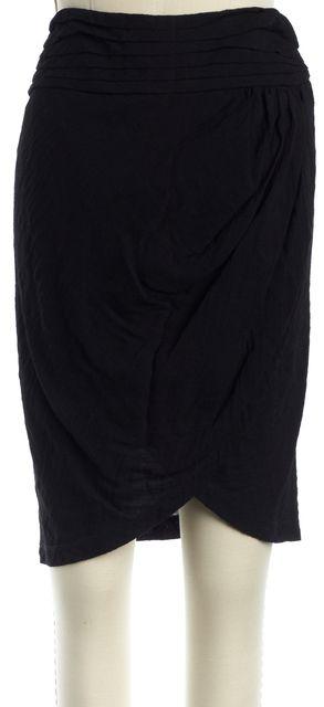 ELIZABETH AND JAMES Black Solid Wrap Effect Knee-Length Skirt