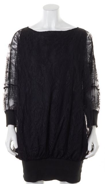 ELIZABETH AND JAMES Black Lace Overlay Sheer Long Sleeves Blouson Dress