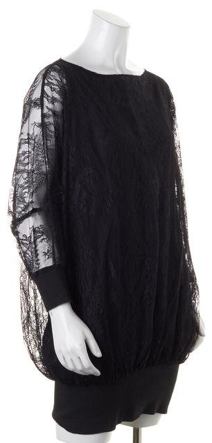 ELIZABETH AND JAMES Black Lace Overlay Sheer Long Sleeves Blouson Dress
