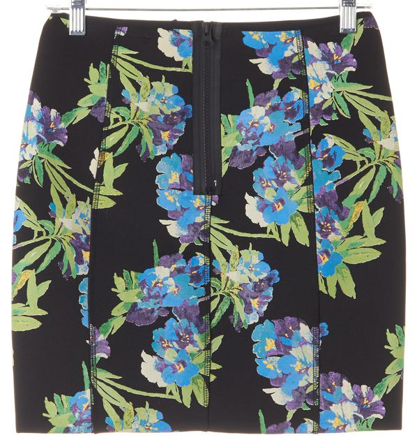ELIZABETH AND JAMES Black Blue Green Floral Scuba Pencil Skirt