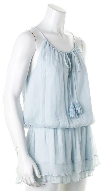 ELIZABETH AND JAMES Blue Textured Silk Blouson Dress