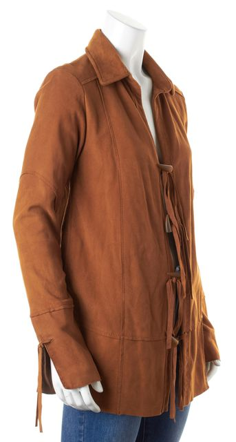 ELIZABETH AND JAMES Brown Suede Lamb Leather Toggle Closure Fringe Jacket