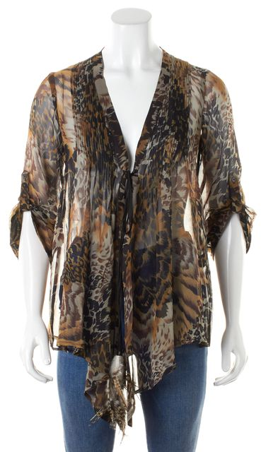 ELIZABETH AND JAMES Brown Leopard Sheer Silk Feather Tie Blouse Top