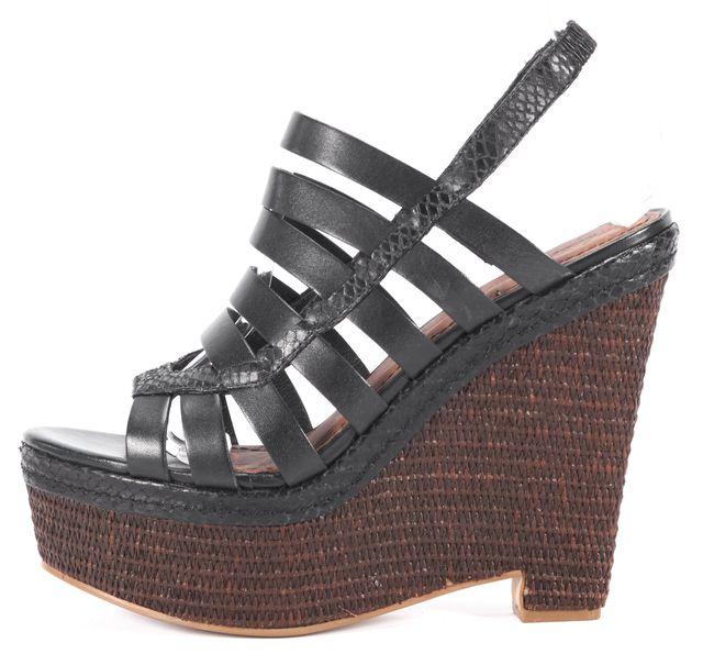 ELIZABETH AND JAMES Black Leather Woven Platform Sandal Wedges