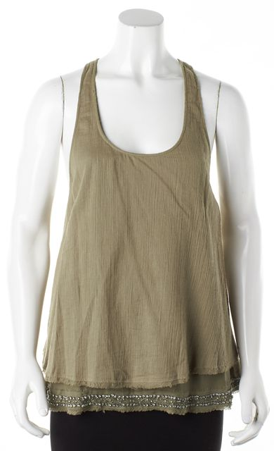 ELIZABETH AND JAMES Green Crystal Embellished Hem Tank Top