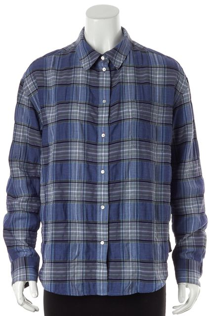 ELIZABETH AND JAMES Blue Plaid Button Down Shirt Top