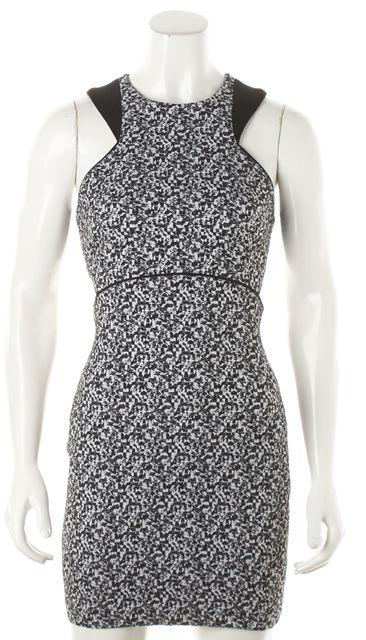 ELIZABETH AND JAMES Black White Abstract Textured Cut Out Sheath Dress