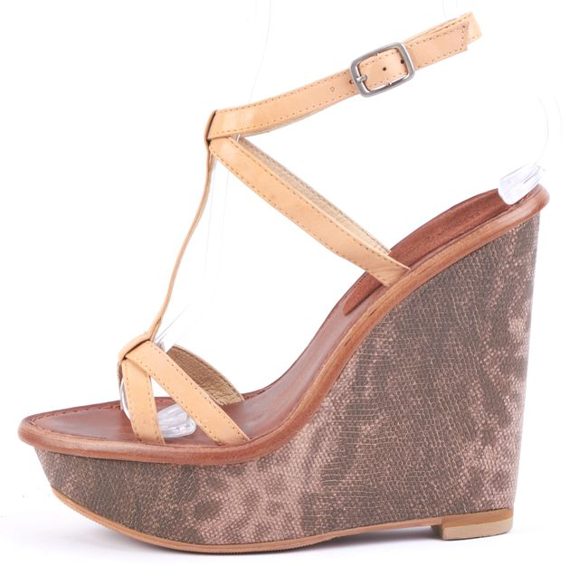 ELIZABETH AND JAMES Beige Animal Print Leather Platform Wedges