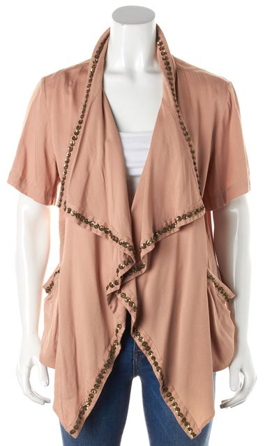 ELIZABETH AND JAMES Beige Gold Sequin Embellished Short Sleeve Cardigan