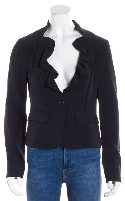ELIZABETH AND JAMES Black Ruffle Trimmed Single Button Front Silk Blazer