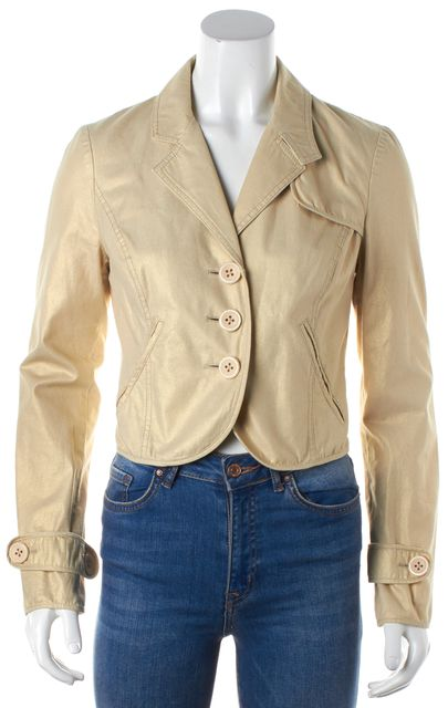 ELIZABETH AND JAMES Beige Metallic Khaki Blazer
