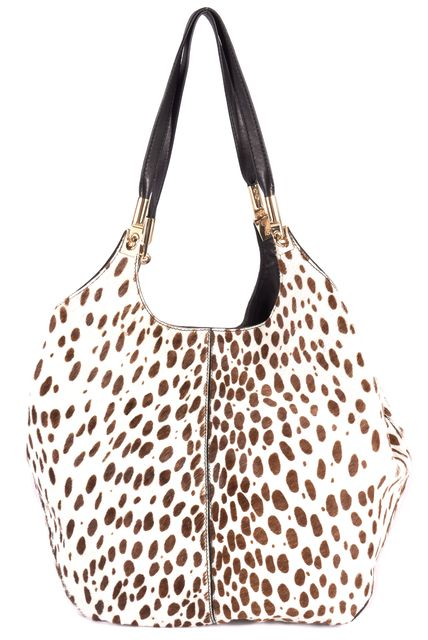 ELIZABETH AND JAMES ELIZABETH AND JAMESS Ivory Gold Tone Hardware Shopper Spot Hair Cow Handle Bags