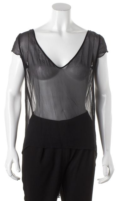 ELIZABETH AND JAMES Black Cap Sleeved Sheer Silk Asymmetrical Hem Blouse
