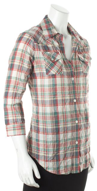 ELIZABETH AND JAMES Red Multi Color Plaid 3/4 Sleeve Button Down Blouse