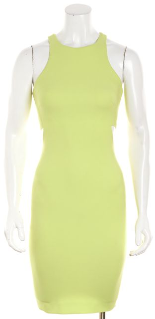 ELIZABETH AND JAMES Bright Chartreuse Side Cutout Pencil Dress