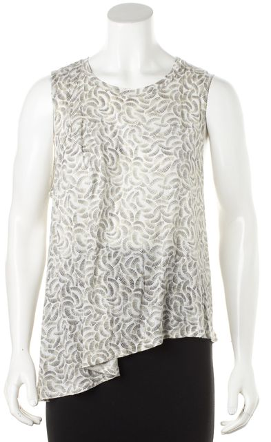 ELIZABETH AND JAMES Beige Abstract A-Symmetric Flow Tank Top
