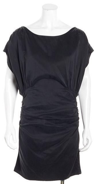 ELIZABETH AND JAMES Black Ruched Sides Back Cutout Silk Shift Dress