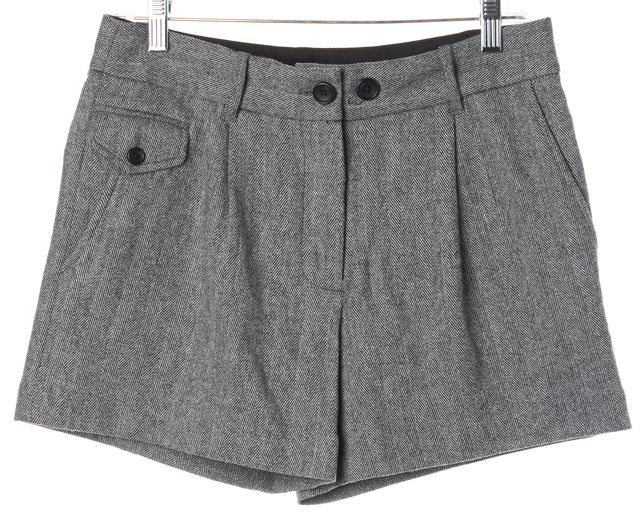 ELIZABETH AND JAMES White Black Wool Knit Casual Shorts