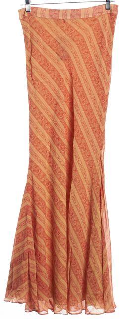 ELIZABETH AND JAMES ELIZABETH WAYMAN Red Beige Paisley Silk Maxi Skirt