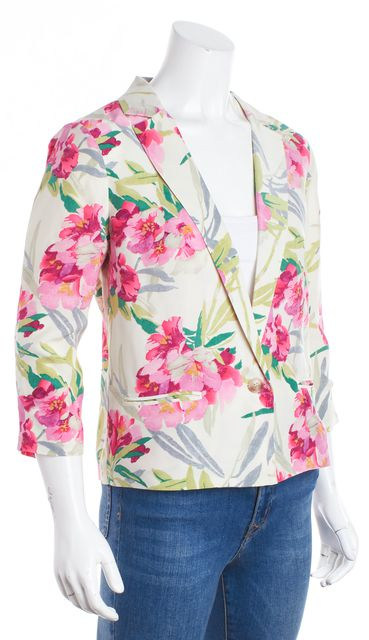 ELIZABETH AND JAMES Ivory Multi-color Floral One-Button Blazer