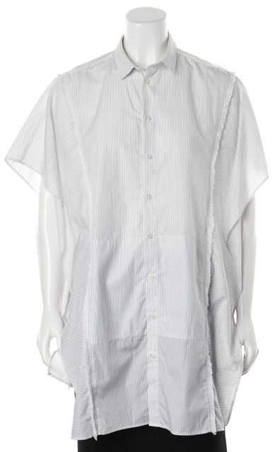 EACH OTHER White Blue Striped Oversized Poncho Style Button Down Shirt