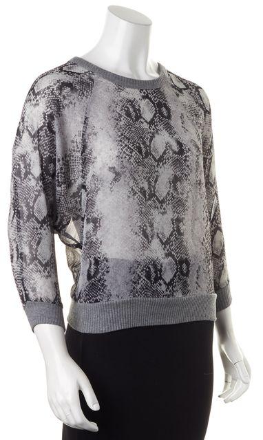 ENZA COSTA Gray Black 3/4 Sleeve Semi Sheer Animal Print Blouse Top