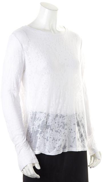ENZA COSTA White Sheer Burn Out Jersey Long Sleeve Tee T-Shirt Top