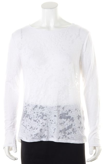 ENZA COSTA White Sheer Burn Out Jersey Long Sleeve Tee T-Shirt Top