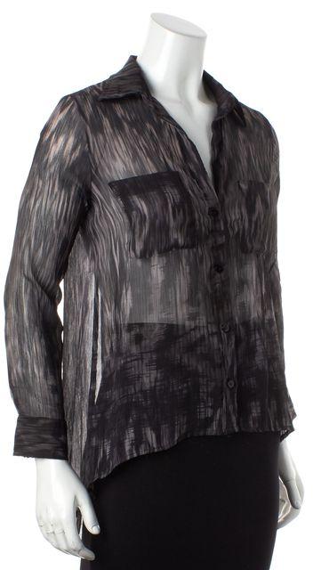 ENZA COSTA Gray Black Sheer Abstract Long Sleeve Button Down Blouse