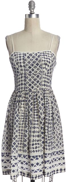EDUN Blue White Geometric Silk Spaghetti Strap Fit & Flare Dress