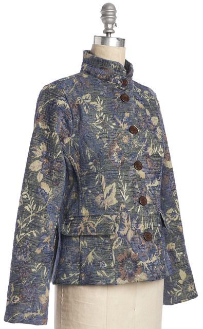 EDUN Blue Yellow Floral Burnout Blazer