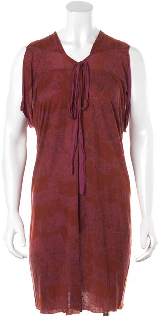EDUN Red Pink Abstract Print Keyhole Sleeveless Shift Dress