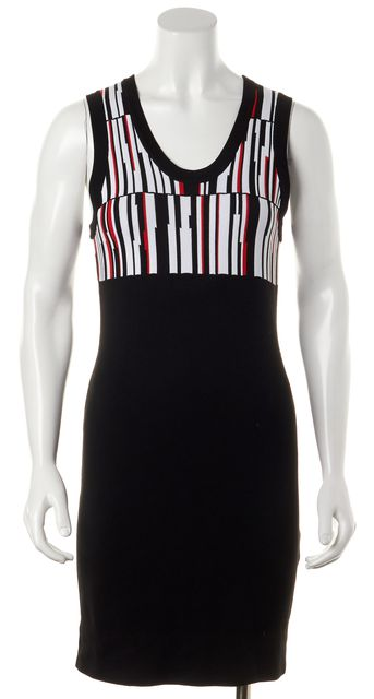 EDUN Black White Red Knit Sleeveless Scoop Neck Mini Sheath Dress