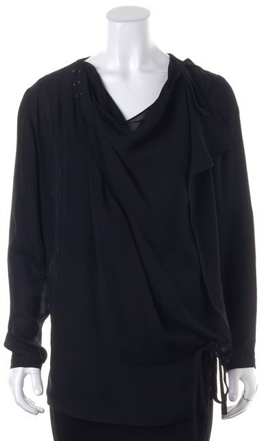EDUN Black Silk Sheer Ring Embellished Blouse