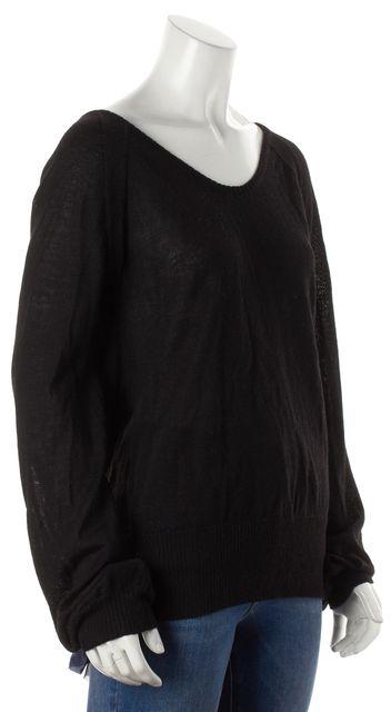 EDUN Black Alpaca Knit Open Tie Back Top