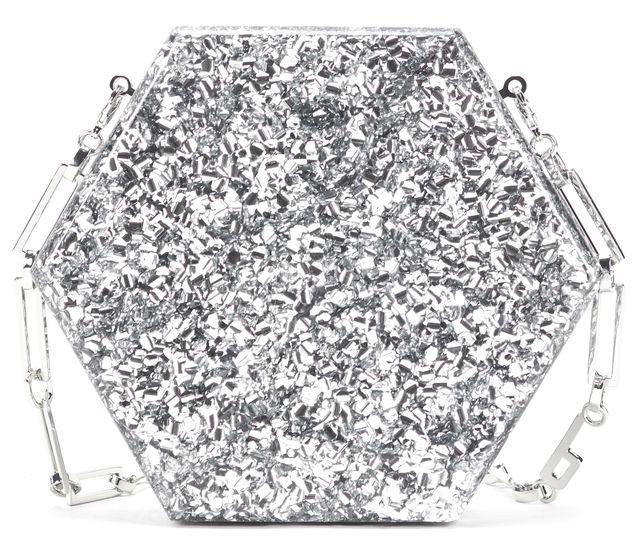EDIE PARKER Silver Glitter Mini Macy Chain Strap Clutch