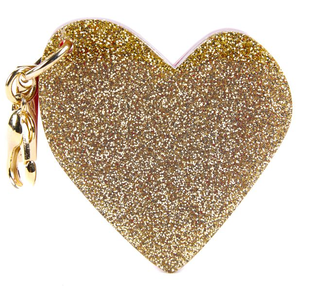 EDIE PARKER Gold Sparkle and Red Heart Key Chain & Bag Charm