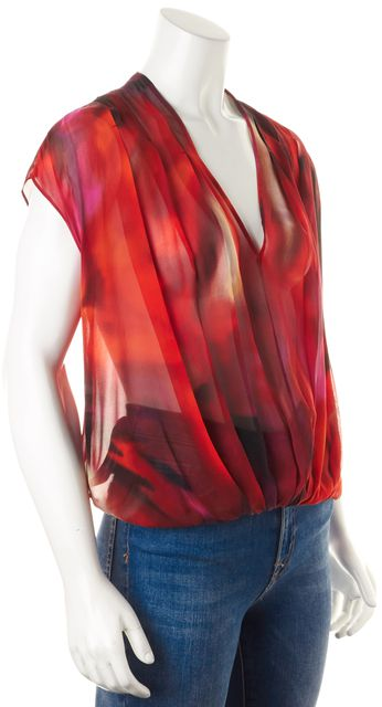 EXCLUSIVE FOR INTERMIX Red Maroon Pink Sheer Abstract Print Silk Blouse