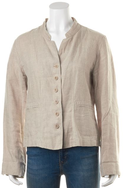 EILEEN FISHER Beige 100% Irish Linen Button Down Basic Jacket