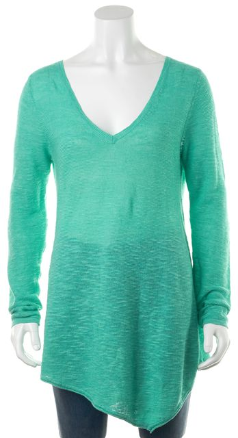 EILEEN FISHER Teal Blue V-Neck Long Sleeve Asymmetrical Sweater