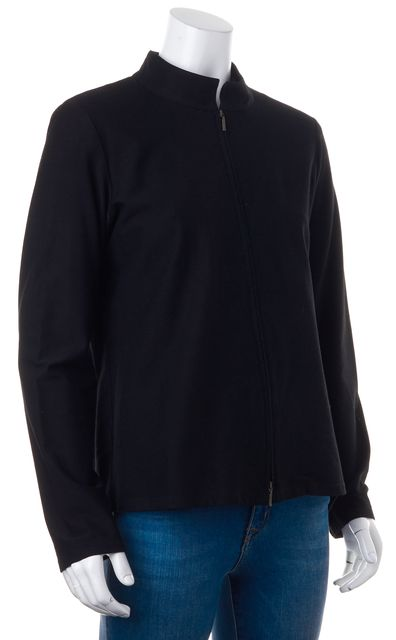EILEEN FISHER Black Zip Front Mock Neck Basic Jacket