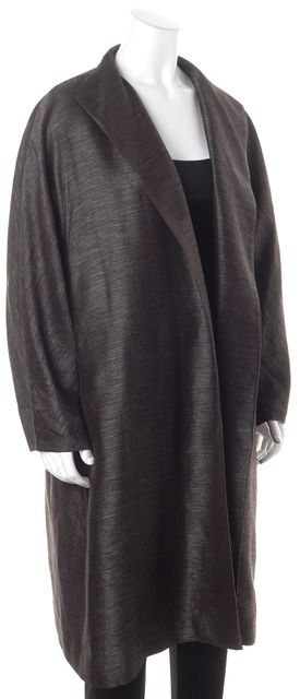 EILEEN FISHER Metallic Gray Silk Blend Oversized Open Basic Coat