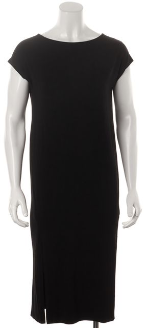 EILEEN FISHER Black Relaxed Fit Two Split Mid-Calf Sheath Dress