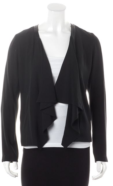 EILEEN FISHER Black Silk Leather Trim Open Blazer