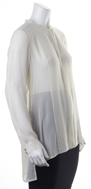 EILEEN FISHER Ivory Silk Long Sleeve Button Front Sheer Blouse Top