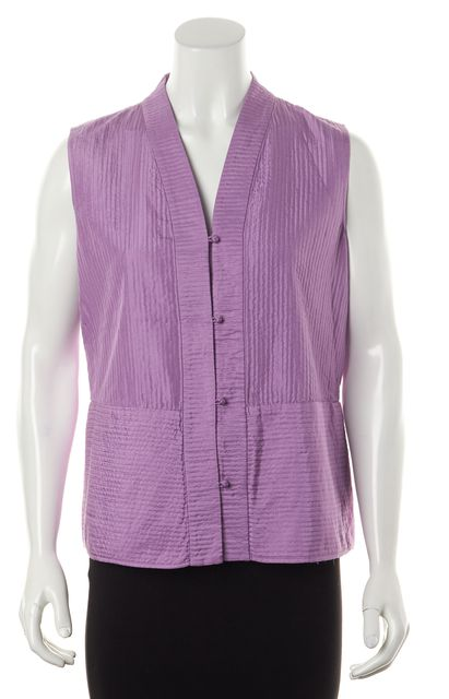 EILEEN FISHER Purple Quilted Silk V-Neck Button Down Sleeveless Blouse Top